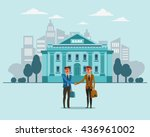 two successful and smiling... | Shutterstock .eps vector #436961002
