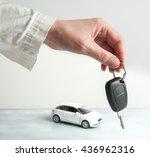 keys and car on white...   Shutterstock . vector #436962316