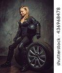 blond female in leather jacket... | Shutterstock . vector #436968478