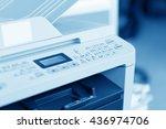 man holding finger on start... | Shutterstock . vector #436974706