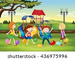 children playing balloon... | Shutterstock .eps vector #436975996