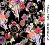 deer skulls with flowers and... | Shutterstock . vector #436979482