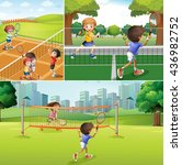 kids playing tennis at the... | Shutterstock .eps vector #436982752