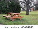 Picnic Table In Autumn Park...
