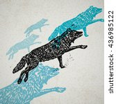 vector wolves in abstract... | Shutterstock .eps vector #436985122