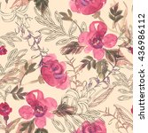 watercolor seamless pattern...   Shutterstock . vector #436986112