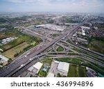 aerial view above motorway  ...   Shutterstock . vector #436994896