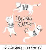 vector card with cute white... | Shutterstock .eps vector #436996495