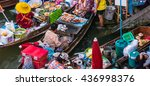 colorful trader's boats in a... | Shutterstock . vector #436998376