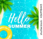 hello summer banner. beautiful... | Shutterstock .eps vector #436998445