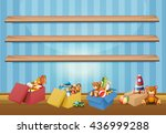 empty shelves and toys on the... | Shutterstock .eps vector #436999288