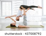 happy couple doing acrobatic... | Shutterstock . vector #437008792