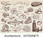 healthy food menu  avocado ...   Shutterstock .eps vector #437009875
