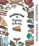avocado  bacon  bread ... | Shutterstock .eps vector #437009896