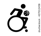 wheelchair athlete playing... | Shutterstock .eps vector #437012458