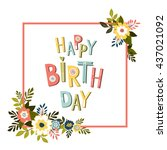 happy birthday card template... | Shutterstock .eps vector #437021092