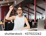 cheerful excited young... | Shutterstock . vector #437022262