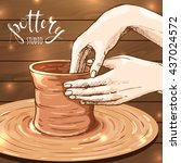 traditional pottery making ... | Shutterstock .eps vector #437024572
