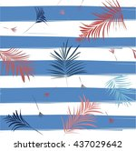 vector palm leaves texture... | Shutterstock .eps vector #437029642