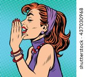 gossip girl pop art | Shutterstock .eps vector #437030968