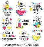 summer lettering set with... | Shutterstock .eps vector #437034808