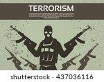 terrorism armed terrorist black ...   Shutterstock .eps vector #437036116