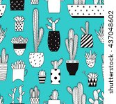 seamless pattern with black and ... | Shutterstock .eps vector #437048602