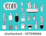 collection of black and white... | Shutterstock .eps vector #437048686