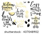 summer hand drawn calligraphyc... | Shutterstock .eps vector #437048902