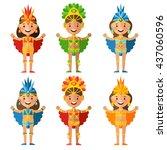 brazilian characters in a flat... | Shutterstock .eps vector #437060596