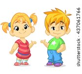 cute cartoon boy and girl with... | Shutterstock .eps vector #437061766