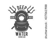 scuba diving label. underwater... | Shutterstock .eps vector #437061988