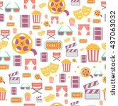 seamless pattern with retro... | Shutterstock . vector #437063032