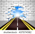 a road breaking through a white ... | Shutterstock .eps vector #437074582