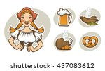 vector German girl and collection of traditional German food for your Oktoberfest menu