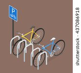 isometric bicycle parking. flat ... | Shutterstock .eps vector #437086918