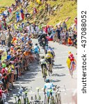 Small photo of COL DU GLANDON, FRANCE - JUL 23: Group of favorites cyclists riding on the road to Col du Glandon in Alps during the stage 18 of Le Tour de France 2015.