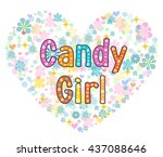 candy girl greeting card. stock ...   Shutterstock .eps vector #437088646