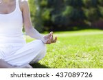 young girl doing yoga in the... | Shutterstock . vector #437089726