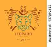 leopard linear head logo in... | Shutterstock .eps vector #437092612