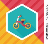 kids tricycle flat icon with... | Shutterstock .eps vector #437093272