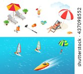 beach icon set. girl in a... | Shutterstock . vector #437098552