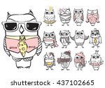 Stock vector vintage poster with stylish cute owls 437102665