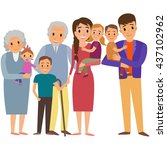 big family portrait. happy... | Shutterstock . vector #437102962