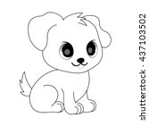 cute dog. coloring page. | Shutterstock .eps vector #437103502