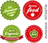 organic  bio and healthy labels ... | Shutterstock . vector #437103736