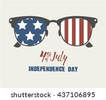 glasses with stars and strips.... | Shutterstock .eps vector #437106895