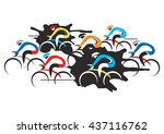 bicycle road race. cycling race ... | Shutterstock .eps vector #437116762