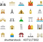 monuments colored flat icons | Shutterstock .eps vector #437117302