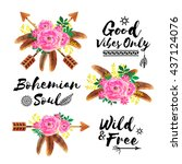 boho style watercolor flowers... | Shutterstock .eps vector #437124076